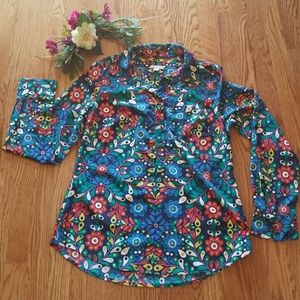 NWOT Merona Long Sleeves Floral Button Collar Top